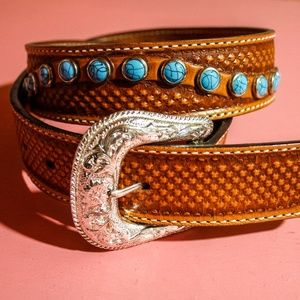 Double J Saddlery Turquoise & Silver Embossed Belt
